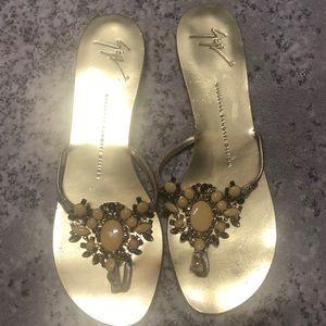 Giuseppe Zanotti Design gold jeweled flat sandal